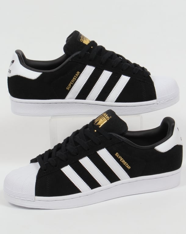adidas superstar black with white stripes