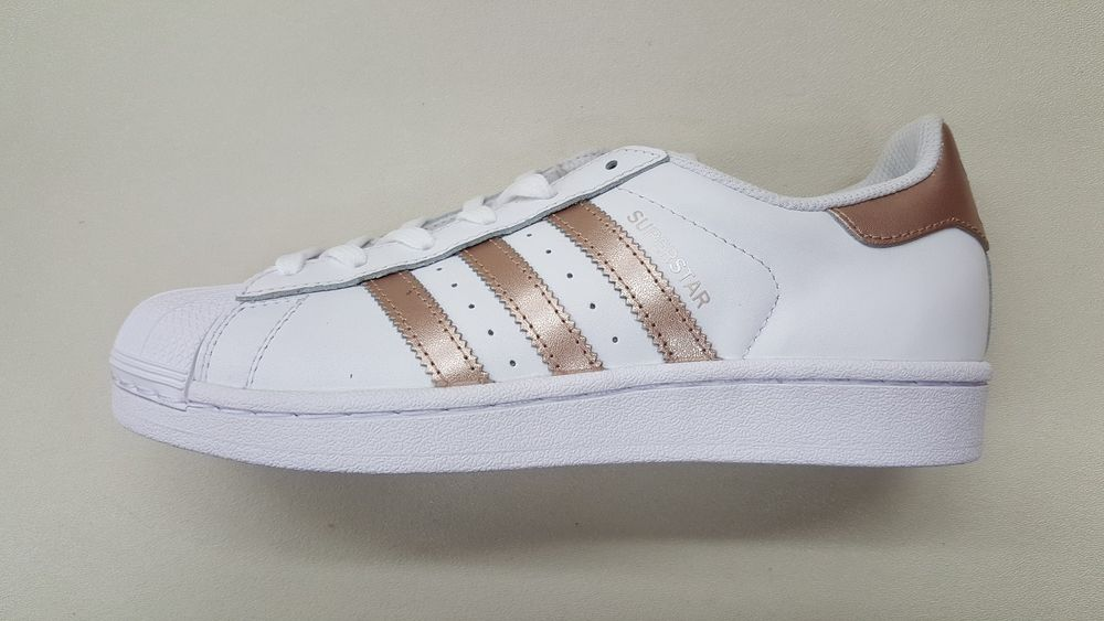 adidas superstar womens white and rose gold